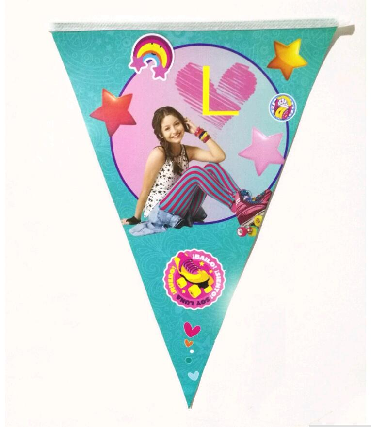 10pcs/lot Soy Luna Banner And Flag Cartoon Theme Party For Kids/Boys Happy Birthday Decoration Theme Party Supply