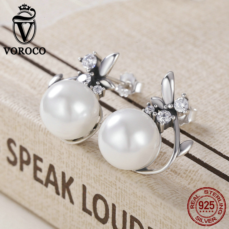 VOROCO Vintage Genuine 925 Sterling Silver Round Shape Pearl Stud Earrings for Women Wedding Engagement Fine Jewelry Gift VSE018 pair of sweet faux pearl decorated antler shape stud earrings for women