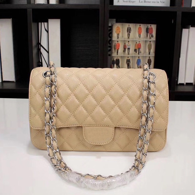 European and American new high quality leather shoulder bag shoulder bag luxury brand square bag chain woc caviar leather handba 2018 new women s high quality leather handbag luxury brand caviar square striped bag metal chain shoulder bag caviar real