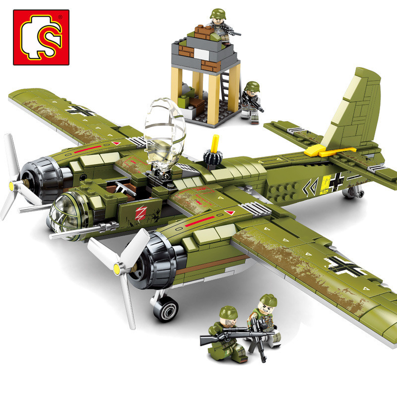 Model Building Kits Supply Compatible Legoing Ww2 German Ju-88 Bomber Fighter Block Set Military World War Army Model Toy For Kids 559pcs Bombing Plane