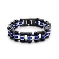 New Black & Blue Bracelet 316L Stainless Steel Jewelry Biker Wristband Punk Rock Motorcycle Link Chain Bracelets 16mm Wide YM167