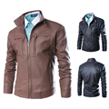 2017 New Fashion Style Plus Size Mandarin Collar Men's Motorcycle Leather Jacket Designer Casual Slim Male Coat M-4XL