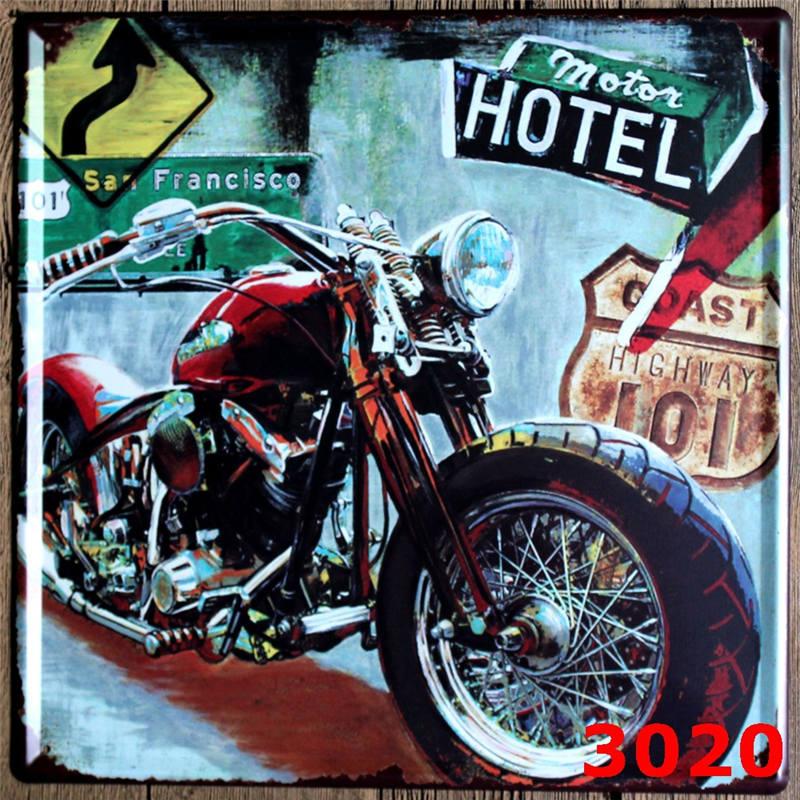 30*30 CM Vintage Motorcycle Sign Decorative Plates Wall Metal Plaque ...