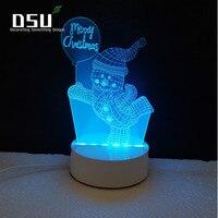 Снеговик Танцы 3D Glow Светодиодное освещение Игрушечные лошадки ночник с 7 цветов Изменение Xmas лампы с Дистанционное управление