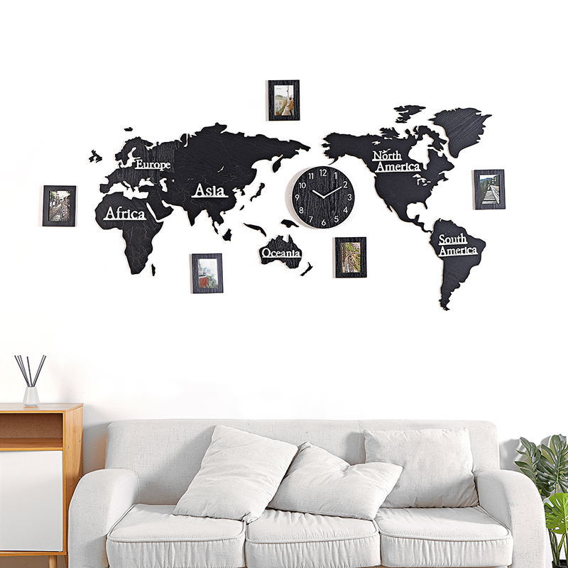 Mapa del mundo acrílico madera 3D auto adhesivo pared Reloj de pared adhesivo sala de estar pegatina para sofá decoración de oficina Fondo foto pared - 2