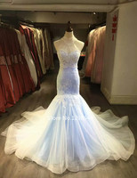 Sexy Mermaid Lace Wedding Dress With Deatchable Jacket Real Hoto Applique Crystal Blue Wedding Gown Beach