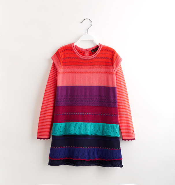 Female child knitted sweater Girls 100% cotton Rainbow knit sweater princess  yarn one-piece dress