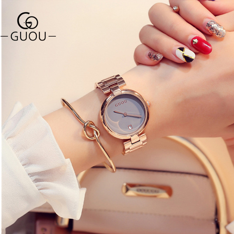 GUOU Watch Luxury Simple Diamond Women Watches Rose Gold Ladies Wrist Watches Clock bayan kol saati reloj Fashion Quartz Watch
