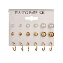 Fashion Round Circle Stud Earrings Set Crystal Simulated Pearl Earrings for Women Brincos Gift Accessories Bijoux(China)
