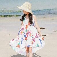 Bloemen patroon kids jurken voor meisjes tiener kleding tienermeisjes zomerjurk 2018 blauw wit zonnejurk holiday beach kleding