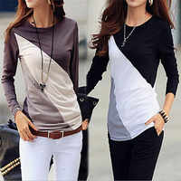 Las nuevas mujeres camiseta Camiseta de manga larga Ropa camiseta Mujer Poleras Camisetas Mujer negro/marrón damas Casual