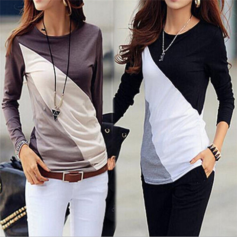 New Women T-shirt Long Sleeve Clothes Ropa Tee Shirt Femme Poleras Camisetas Mujer Black/Brown Ladies Casual