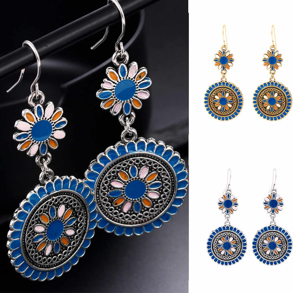 Female Vintage Flower Oil Drop Dangle Hanging Earrings Women Jewelry New accessories alloy drop oil round sun flower earrings