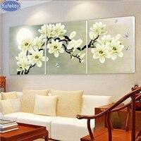Triptych diy Kim Cương Thêu Khoan kim cương Vẽ Tranh Tường Nghệ Thuật hoa lan Trang Trí hình ảnh trên the wall phòng khách 3 cái Thủ Công Mỹ Ngh