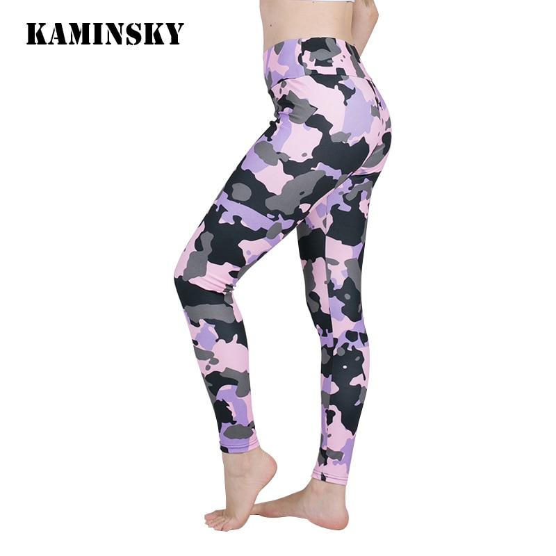 Kaminsky Casual Printed   Leggings   Push Up Patchwork Bodybuilding Female Long Pants Women High Waist Camouflage   Leggings