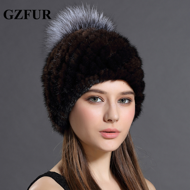 75f791b3c01e7 Women Hat Beanies Of Winter Genuine Fur Caps Real Mink Fur With Balls Hat  Caps For