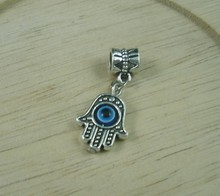Hot ! 80Pcs Antique Silve Hamsa Hand EVIL EYE Kabbalah Good Luck Charm Pendant 19x12mm  A010263