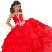 Красные пышные платья для маленьких девочек пышные Детские платья для выпускного бала с бусинами нарядные Детские вечерние платья для девочек