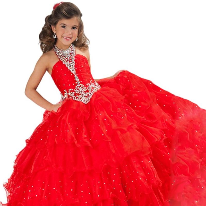 Rouge petit filles pageant robes perles puffy robes de bal bleu fantaisie enfants robes de soirée pour les filles