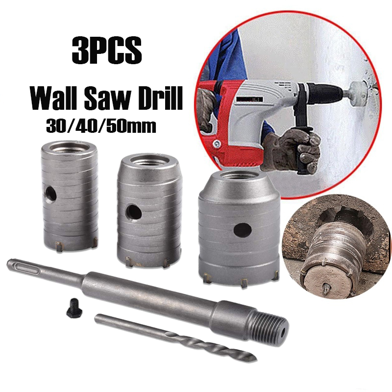 3pcs Shank Concrete Cement Stone 30//40//50mm Wall Hole Saw Drill Bit w//wrench