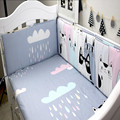 Cotton Baby Bedding Sets Hand Made Custom Cartoon Cats Inbakeren Cot Sheet Baby Bumper Bed Around Neonatal Crib Bedding