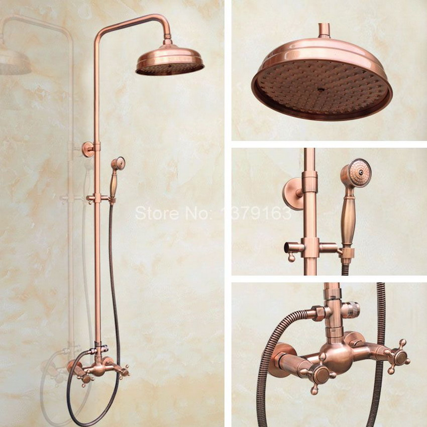 √Vintage Red Copper Brass Wall Mounted Bathroom Rain Shower Faucet ...