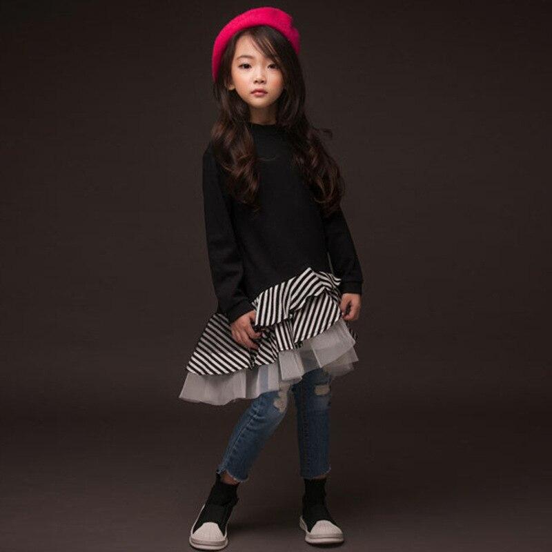 2019 printemps volants robe pour 10 11 12 13 14 ans adolescente filles coton Double couche princesse anniversaire robe nouveauté vêtements enfants