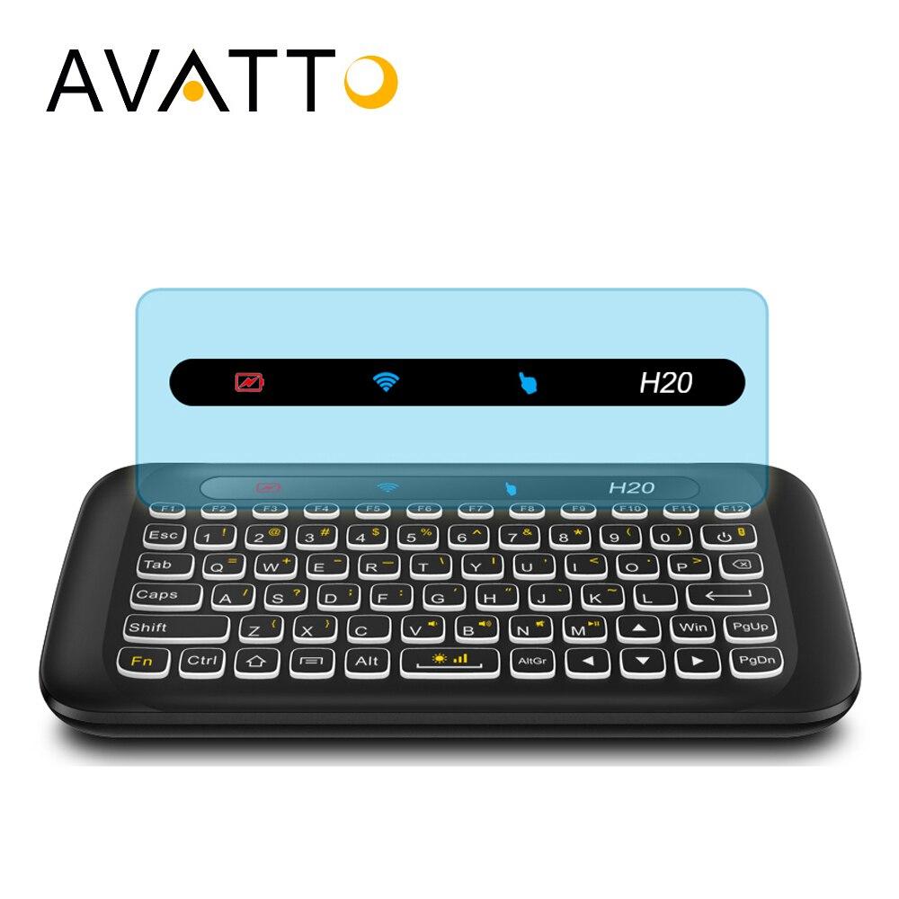 AVATTO ruso inglés H20 La Touchpad con retroiluminación Mini teclado con 2,4G inalámbrico de Control remoto IR para Smart TV caja Android PC