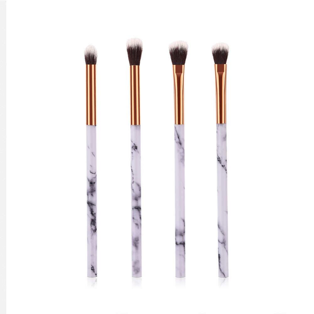 1/4 Pcs Women Marble Texture Marbling Handle Eyeshadow Brush Powder Blending Concealer Makeup Cosmetic Brush Tool #273602 (China)