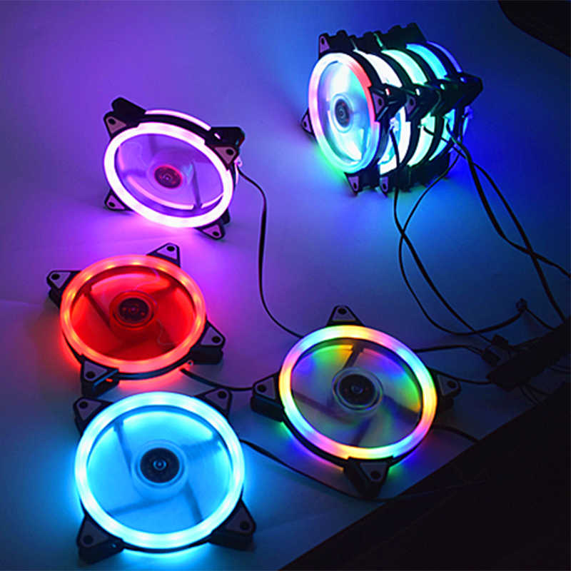 Adjustable Komputer Cooling Fan 120 Mm Fan PC Case Fan Coolercase Silau Merah Biru Hijau Putih Cooler Penggemar untuk Komputer cooler RGB