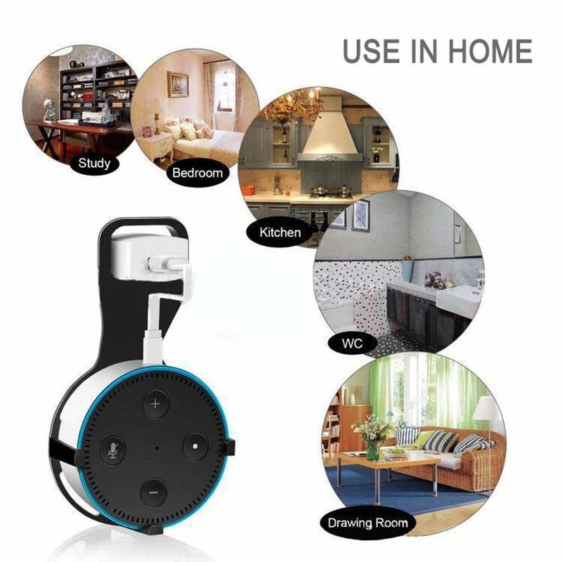 Outlet Wall Mount Hanger Stand And Space-Saving Holder Case Mounting Bracket Speaker Stand Smart Companion For ECHO DOT 2