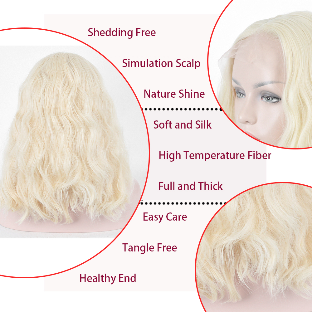 Xi.cocks Wavy Lace Front Wigs Pop Style Shaghair 20inch Beige Synthetic Hair Wig For Women Free Shipping