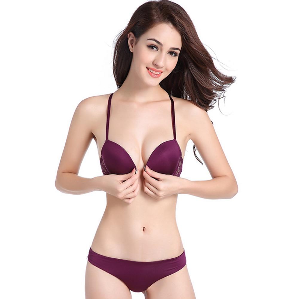 Sexy Front Closure Lingerie Push up Bra set Lace Bras For Women Underwear set Y-line Straps Bralette Bra And Panty sets AA A B C