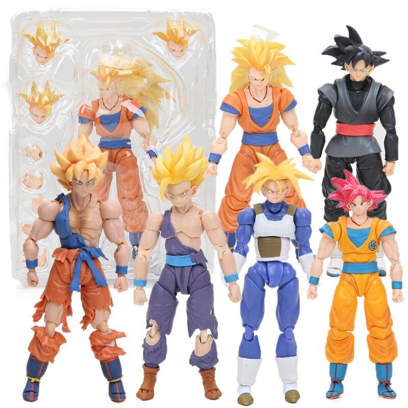 กล่อง 6 ชิ้น Figurine Dragon Ball Z ตัวเลขของเล่น Super Saiyan Son Goku Gokou Vegetto Freeza Trunks Action Figure Collection รุ่น-ใน ฟิกเกอร์แอคชันและของเล่น จาก ของเล่นและงานอดิเรก บน   1