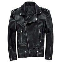 Для мужчин мотоциклетная кожаная куртка 100% из натуральной овчины панк косой молнией бомбер байкер кожаные куртки 4XL