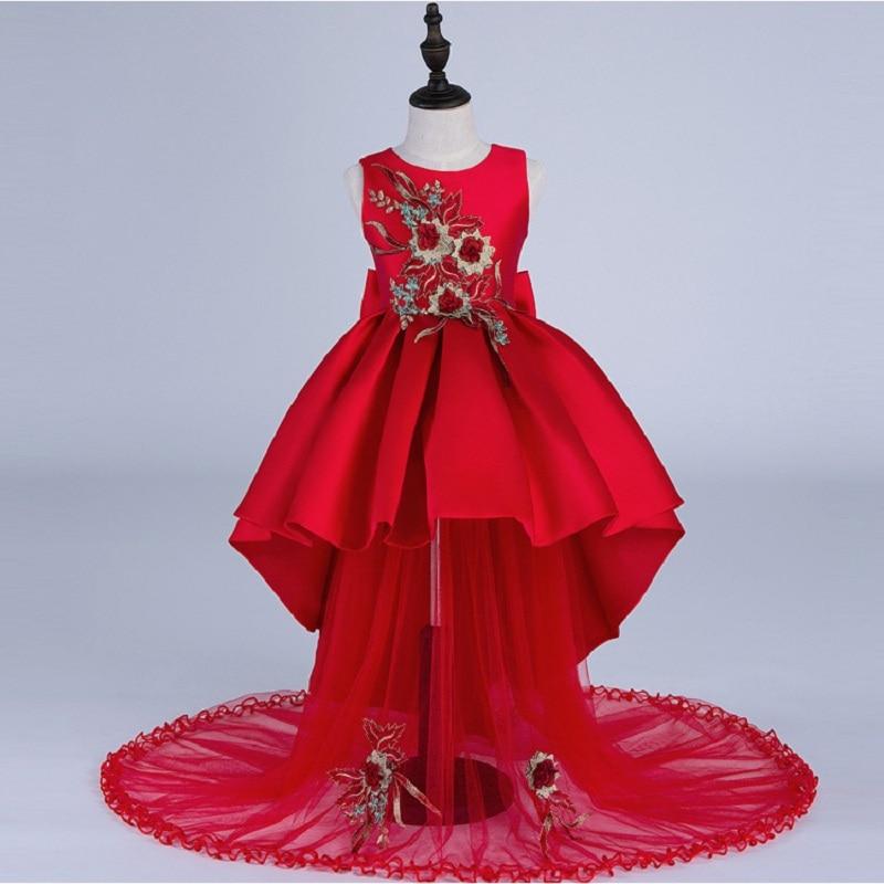 Robe Enfant Girls Dresses for Party Wedding Vestidos Infantil Baby Princess Summer Ball Gown  Red 4 5 6 7 8 9 11 12 14 Years Old штаны для мальчиков baby boy pants kd 6 2015 infantil kd 2 3 4 5 6 xtk 66