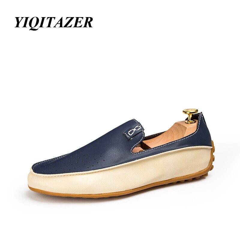 YIQITAZER Brend Cool ljetne casual cipele Muškarci natikače, Muške cipele Kožne Prave cipele Man Plus veličina 36-47