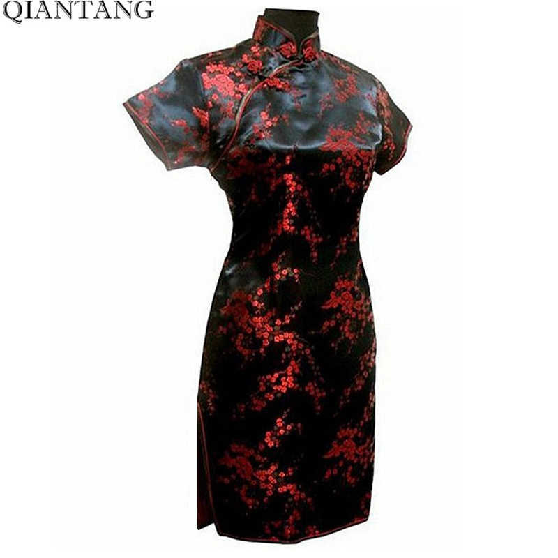 Black Chinese Style Short Cheongsam Traditional Women's Satin Mini Qipao Dress Vestido Clothing Plus Size S-6XL