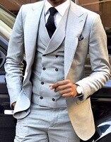 Mens Suit 3 Pieces Burgundy Double breasted Vest Formal Business Slim Fit Notch Lape Tuxedos For Wedding Blazer+Vest+Pant 2020