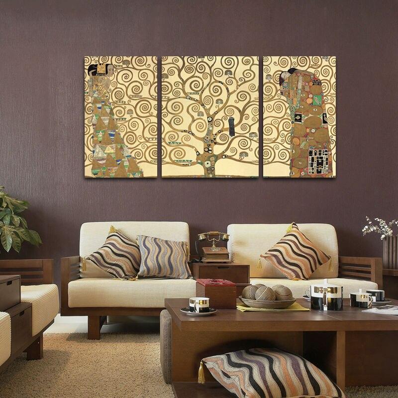 3 st cke klimt kunst erwartung lebensb ume wandkunst bilder dekoration leinwand gem lde f r. Black Bedroom Furniture Sets. Home Design Ideas