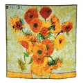 "Van Gogh's Oil Painting 100% Genuine Silk Scarf 34"" Big Style Women Fashion New Square Sunflower Wraps & Shawls"