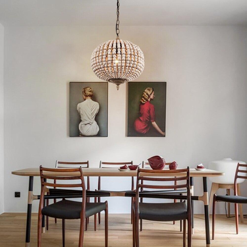 American Loft vintage country ball wooden bead pendant lights E27 led hanging lamp modern for living roombedroom restaurant - 5