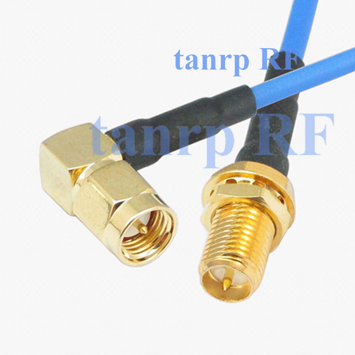 15CM coaxial Sexi Flexible blue jumper extension cable RG405 6in SMA male right angle to RP SMA female jack RF 3G 4G router WIFI