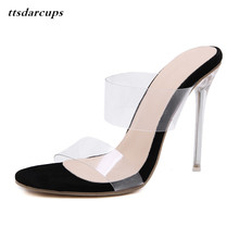 TTSDARCUP 2019 European spring new transparent and fashionable fruit high heeled sandals 35-40 yards. Sexy banquet crystal shoes