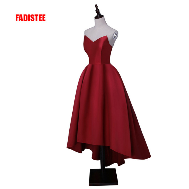 FADISTEE Hot sale party prom dress Vestido de Festa sweetheart neck high-low satin lace-up back simple style gown