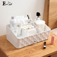 Double layer makeup organizer box multi-functionaltable jewelry cosmetic storage box home small items plastic jewelry case