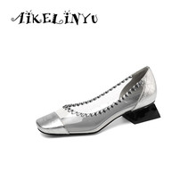 AIKELINYU 2019 Fashion Comfort Low Heel Lady Pumps Silver Black  Elegent Transparent Square Shoes Spring Office Women