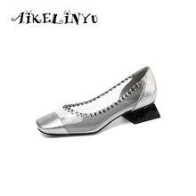 AIKELINYU 2019 Moda Konfor Düşük Topuk Bayan Pompaları Gümüş Siyah Zarif Şeffaf Kare Topuk Ayakkabı Bahar Ofis Kadın Pompaları