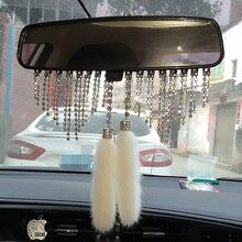 High end carro de cristal diamante pingente vison pele espelho retrovisor pendurado ornamentos charme decoração interior do carro acessórios