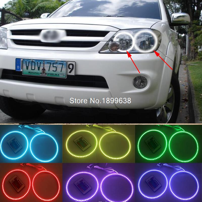 4pcs Super bright 7 color RGB LED Angel Eyes Kit with a remote control car styling For Toyota FORTUNER 2004 2005 2006 2007 keyshare dual bulb night vision led light kit for remote control drones